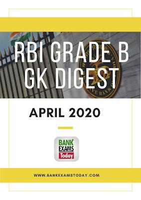 RBI Grade B GK Digest: April 2020