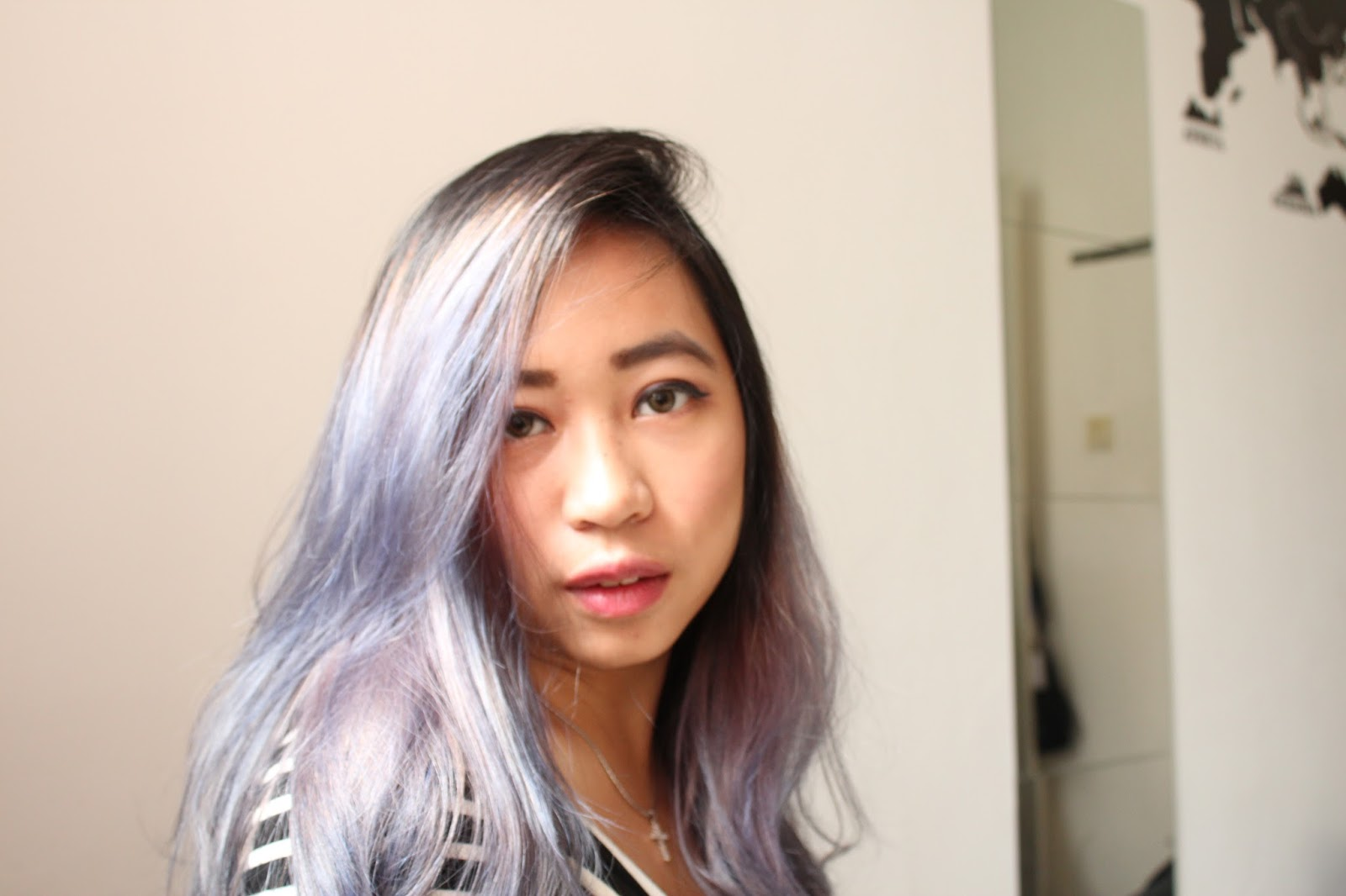 This is a photo of my new ash purple hair for summer by Sidney Scarlett from www.sidneyscarlett.com