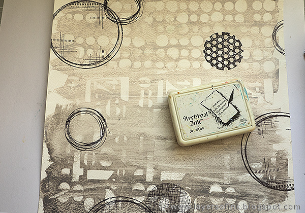 Layers of ink - Numbers and Circles Layout Tutorial by Anna-Karin with stamps by Dina Wakley and Wendy Vecchi