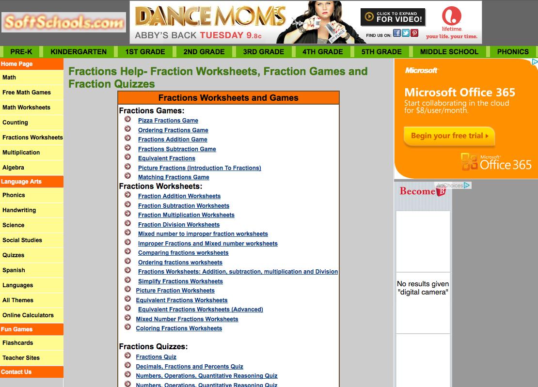 Softschools Math Worksheets