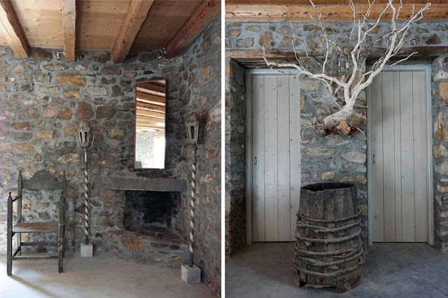 Interior de inspiración industrial para una villa en Serifos chicanddeco