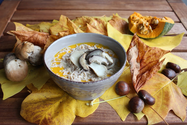 crema di zucca con castagne e funghi