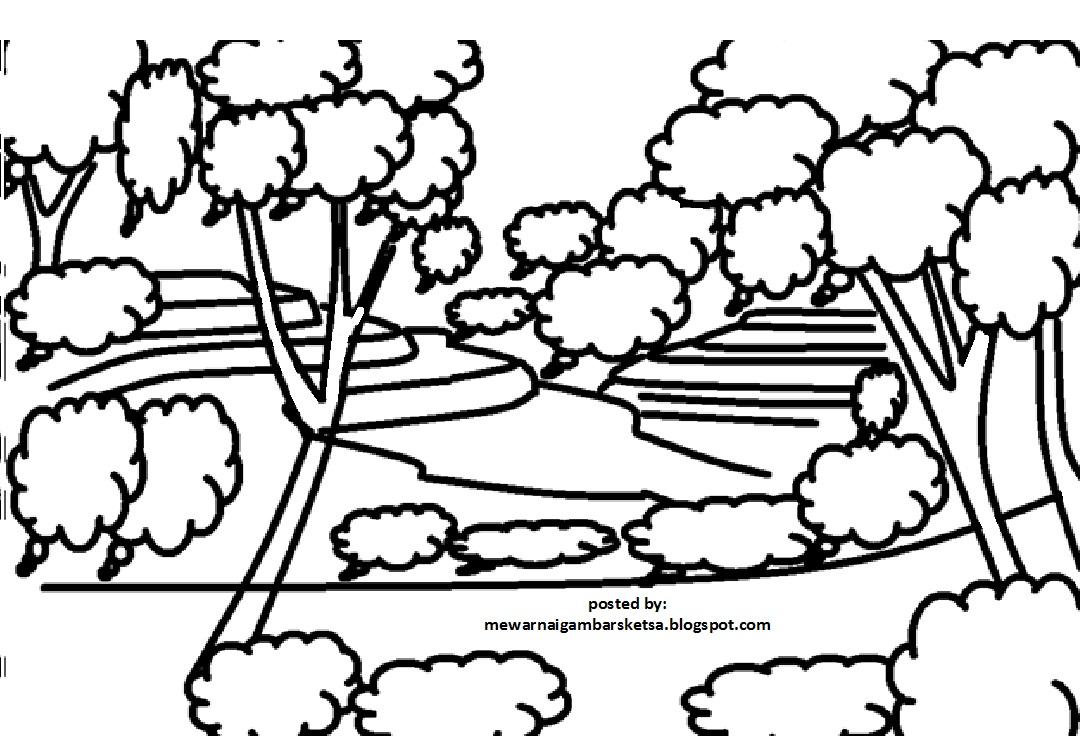 Mewarnai Gambar Sketsa Pemandangan Alam 4