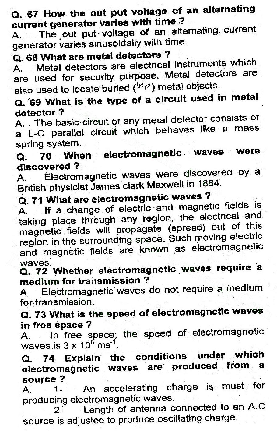 2nd Year Physics Chapter 16 Alternating Current important questions