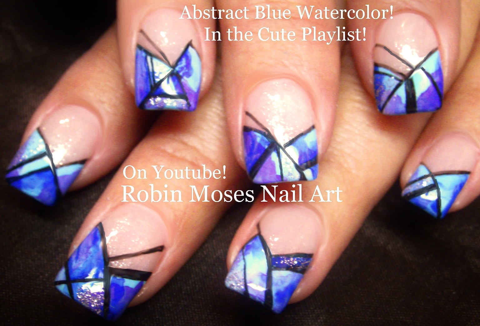Nail Art by Robin Moses: Blue Polish with Blue Flowers! \