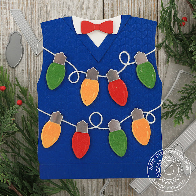 Sunny Studio Stamps: Sweater Vest Dies Merry Sentiments Ugly Christmas Sweater Card by Juliana Michaels