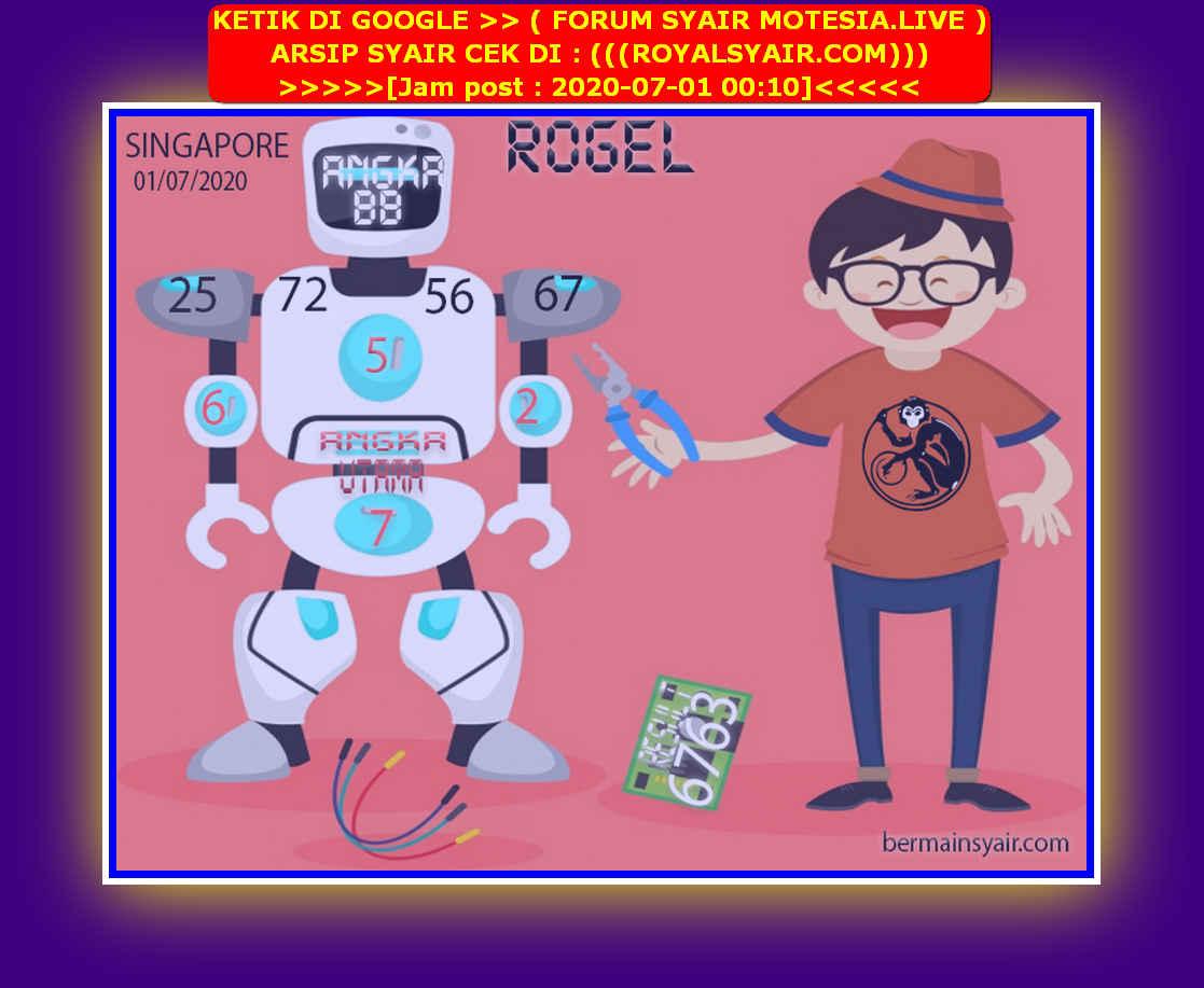 Kode syair Singapore Rabu 1 Juli 2020 199
