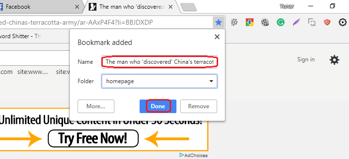 how to bookmark a page in chrome