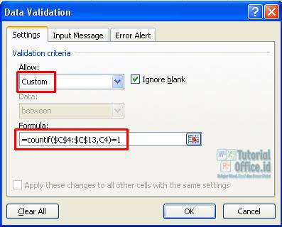 Mencegah Input data yang sama di excel