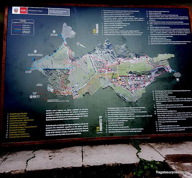 Machu Picchu, Peru - mapa dos circuitos demarcados