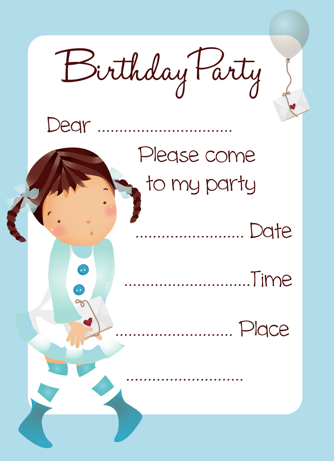 Quotes Free Free Balloon Girl Birthday Party Invitation