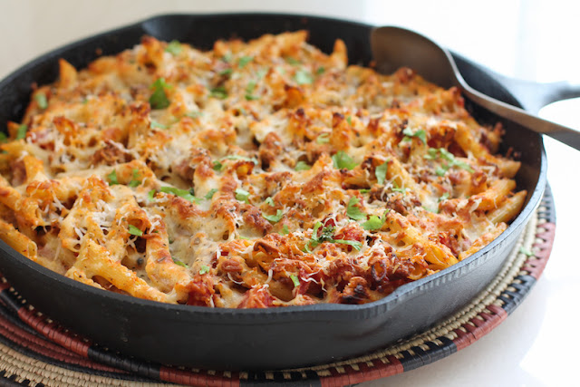 Food Lust People Love: The perfect weeknight family meal or Sunday supper, this baked cheese and sausage ziti is quick to put together but full of flavor. Comfort food at its best.