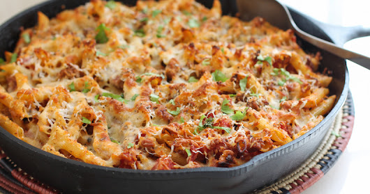 Baked Cheese and Sausage Ziti #BakingBloggers