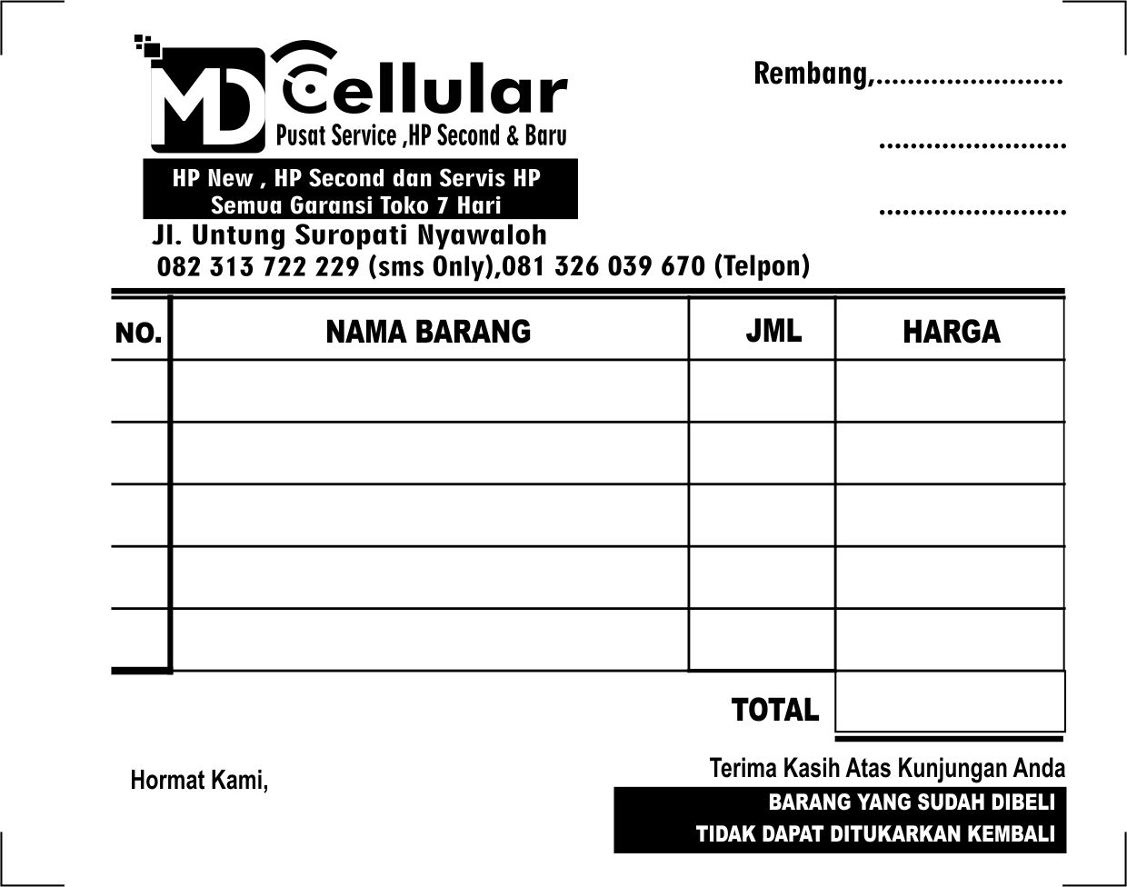 Download Template Nota Format Cdr