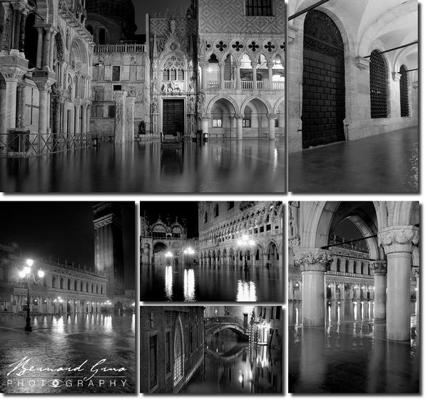 Bernard Grua, Venise de nuit, en noir et blanc, Aqua Alta
