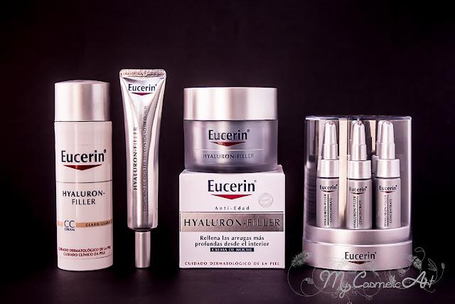 Mi experiencia con la gama Hyaluron Filler de Eucerin: CC Cream, contorno de ojos, crema de noche y concentrado Hyaluron Filler.