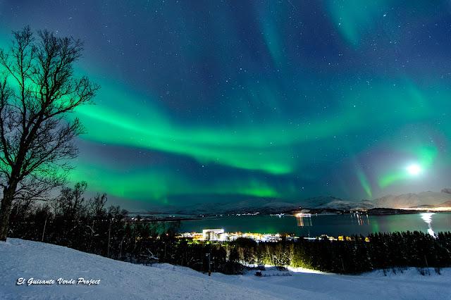 Aurora Boreal y Luna, sobre el mar - Tromsø, Noruega por El Guisante Verde Project