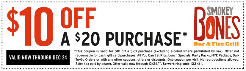 graphic about Smokey Bones Coupons Printable known as Smokey bones coupon - On line Price cut