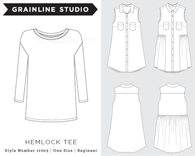 Hemlock and Alder technical drawings via SEWN sewing blog