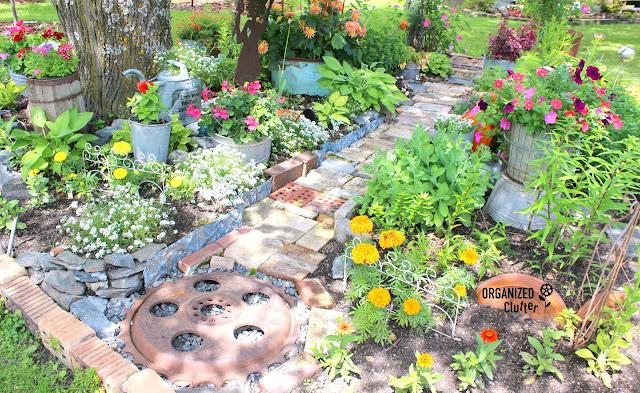 Whimsical Junk Garden Path organizedclutter.net