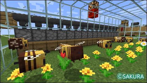 Minecraft ハチアップデートで作ったミツバチ自動採蜜機