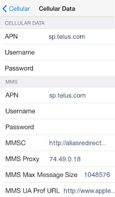 Telus APN Settings for iPhone 5 6S 4S 4