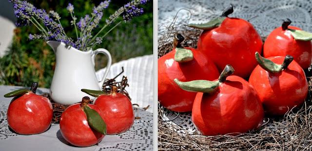 Äpfel aus Keramik als Deko für Herbst und Winter