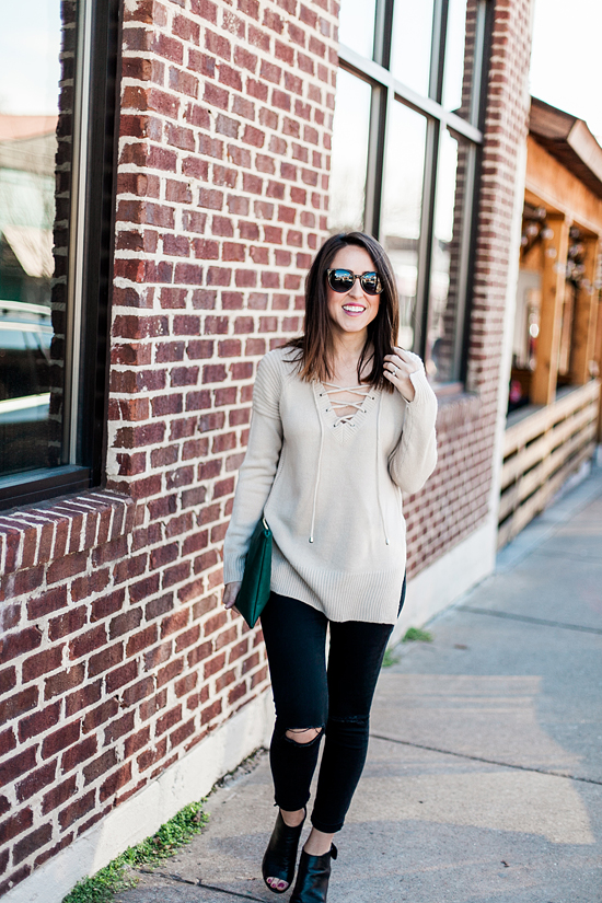 Here&Now: lace up sweater with jeans