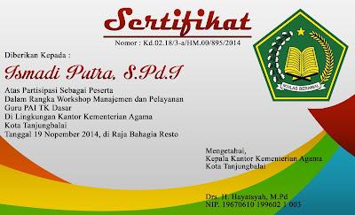 Sertifikat Workshop Manajemen Pelayanan