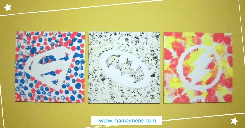 PINTURA-ARTE-KIDS-NIÑOS-MAMAYNENE-PREESCOLAR-KINDER-TRIPTICO-SUPERHEROES-INFANTIL
