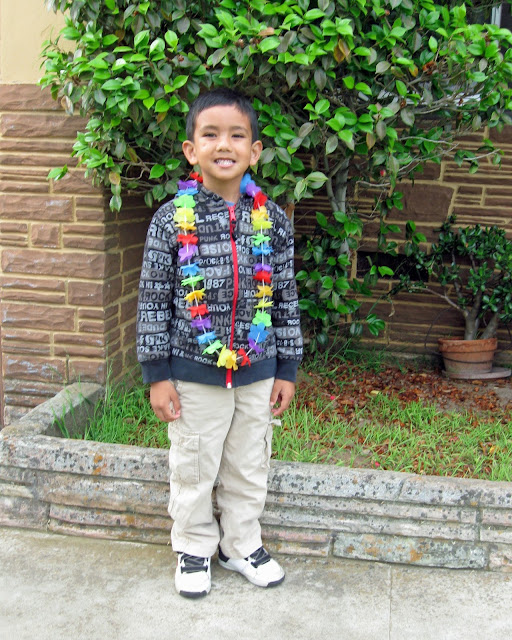 This is Hawaiian Lei Day for Spirit Week at my son's school.