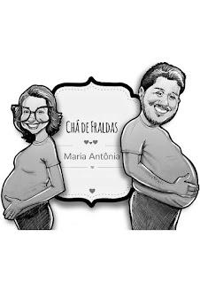 caricatura de casal para chá de bebê