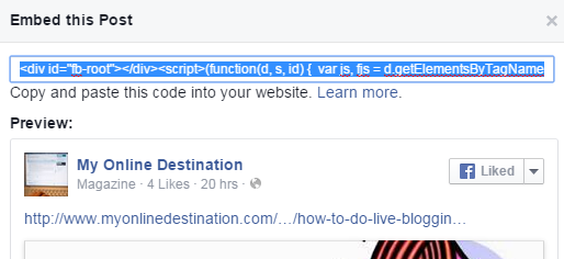 Embed Facebook Post In Your Blog's Post