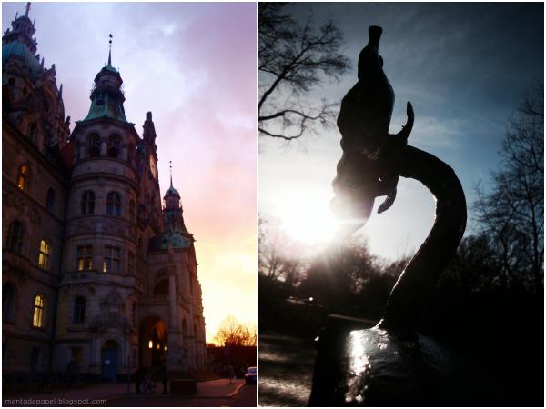 Neues Rathaus de Hannover y flor de metal