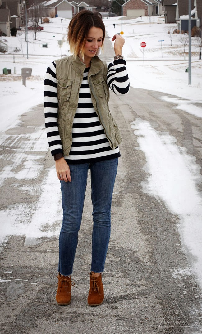 Thick navy stripes, utility vest and ankle boots