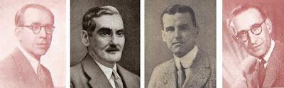 Los ajedrecistas Francesc Armengol, Dr. Esteve Puig i Puig, Alain Campbell White y Ricardo Guinart
