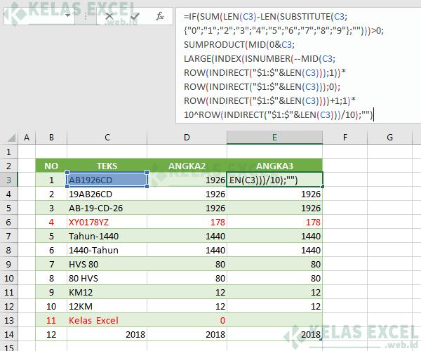Rumus Excel Mengambil Angka di Tengah