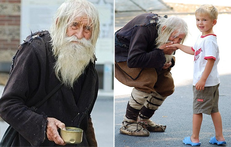 Dobri Dobrev, a 102-year-old-man, begs every day and gives away all he gets to churches and orphanages.