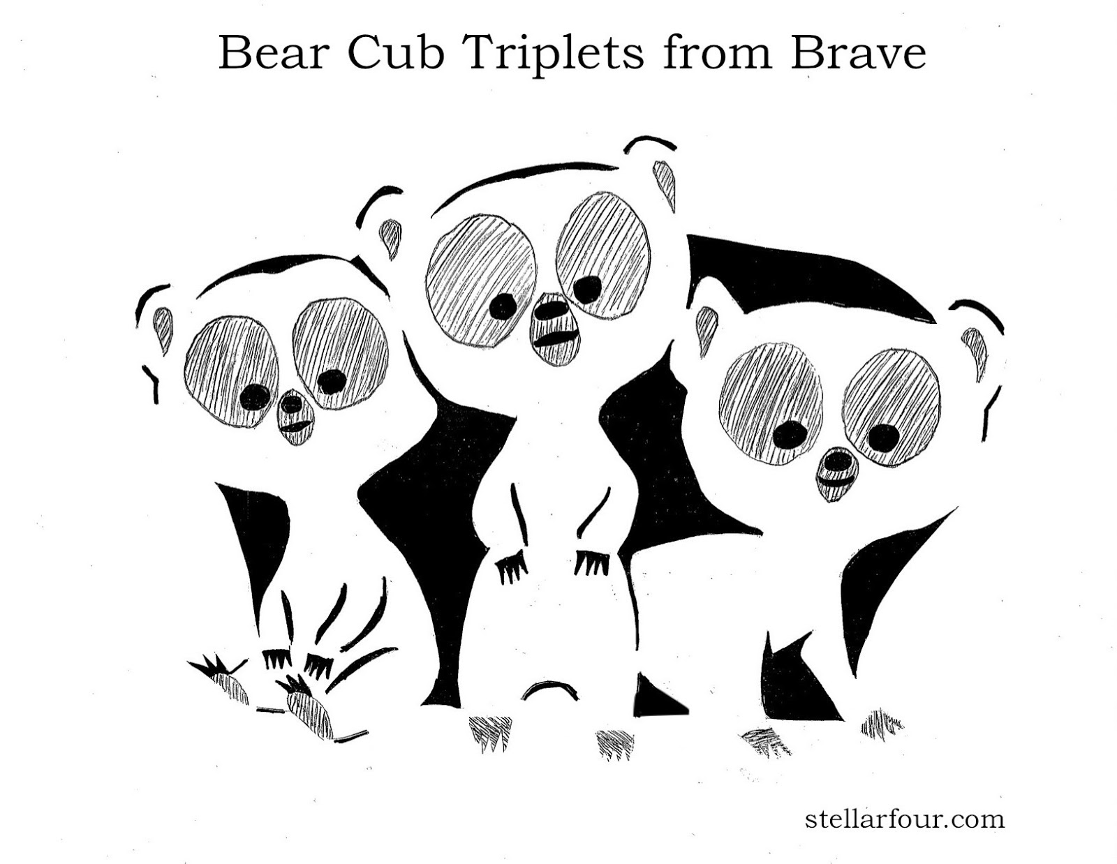 Stellar Four Pumpkin Carving Pattern The Bear Cub Triplets From Brave