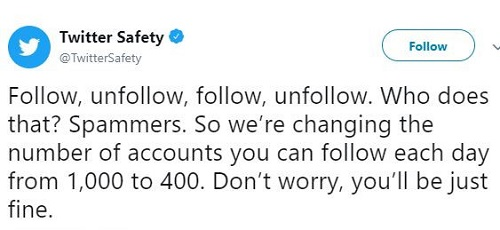 Twitter Limits Daily Follows To Combat Spammers