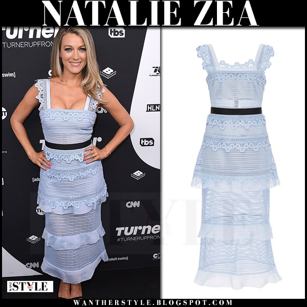 Natalie Zea in light blue lace tiered dress self portrait petunia what she wore summer party outfit