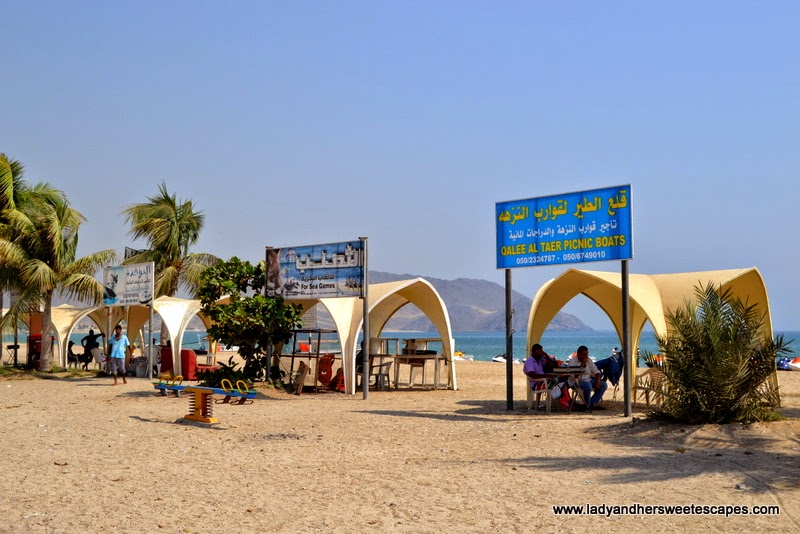 the stalls for water sports at Khorfakkan Corniche
