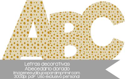 letras decorativas doradas para imprimir