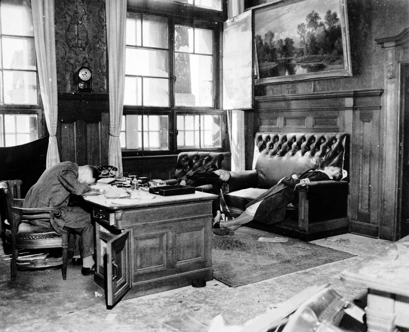 Deputy Mayor Dr. jur. Ernst Kurt Lisso, his wife Renate Stephanie, in chair, and their daughter Regina Lisso after committing suicide by cyanide in the Leipzig New Town Hall to avoid capture by US troops. April 19, 1945