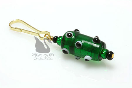 Green Goblin Lampwork Petite Beaded Purse Charm Zipper Pull (ZP103)