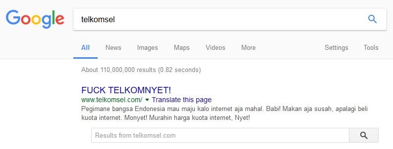 Hasil pencarian Telkomsel di Google