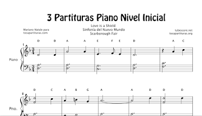 3 Partituras de Piano Nivel Inicial Partitura de Sinfonía del Nuevo Mundo de A. Dvorak, Love is a Shield de Camouflage y Scarborought Faire Popular - Pianistas Principiantes
