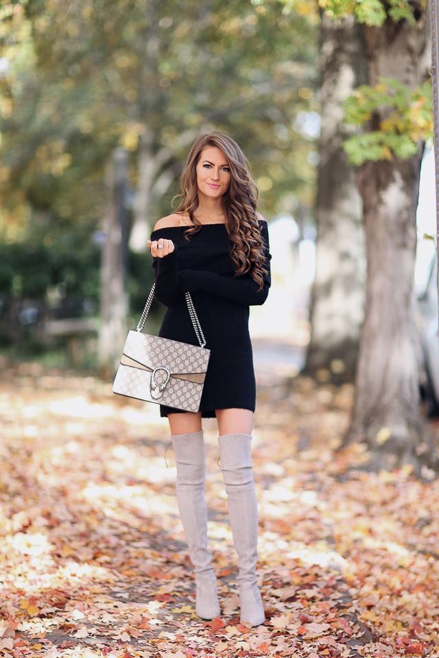 black off-the-shoulder dress