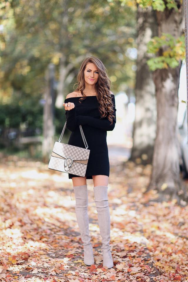 black off-the-shoulder dress