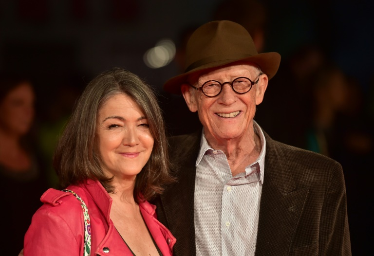John Hurt (R) and his wife Anwen Rees-Myers pose on arrival for the premiere of 'Suffragette' at the London Film Festival in 2015